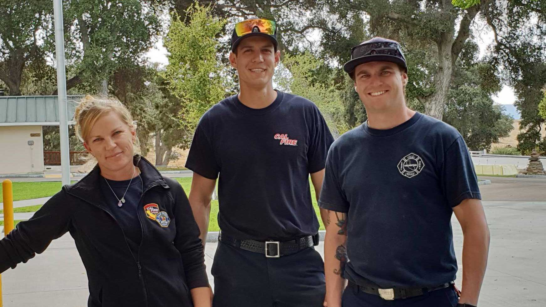 Krissy, Dax and Brandon at Warner Springs fire station