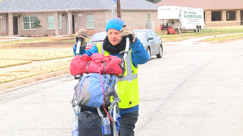World walker stops in Wichita Falls