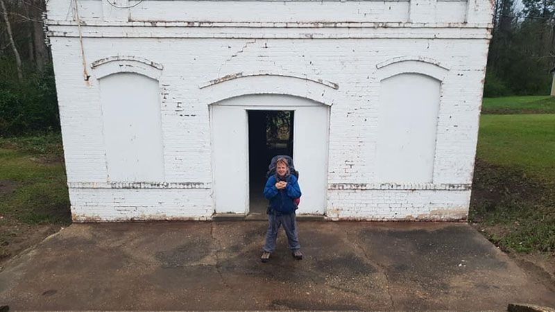 Outside the historic prison in Twin City, built in 1906