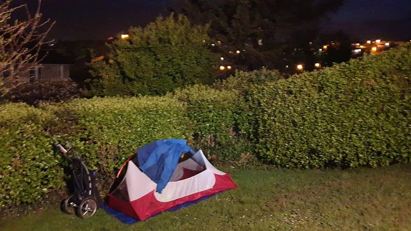 A perfect spot to camp with the lights of Youghal Harbour winking in the distance