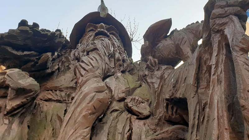 Dodgy Merlin wood sculpture in central Carmarthen, where the famed wizard was supposedly born