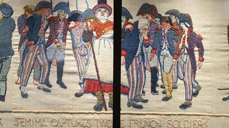 Tapestry of Fishguard cobbler, Jemima Nicholas, who single handedly forced 12 French soldiers to surrender, armed only with a pitchfork