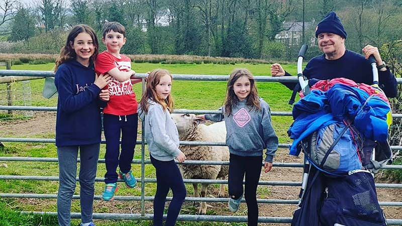 With Barnaby, Olivia, Lyra and Beatrice, who were petting Barry the sheep near Whitland
