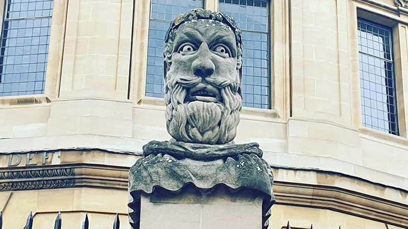 Stone philosopher on Broad Street with a beard to rival Brian Blessed