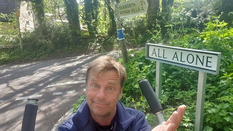 The road sign says, 'All Alone'. In fact I had more company on this stretch than anywhere else