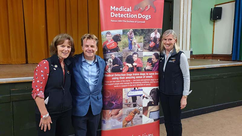 Biddy, left, and Millie did a brilliant job rallying up a crowd for my talk in Wadhurst in aid of Medical Detection Dogs