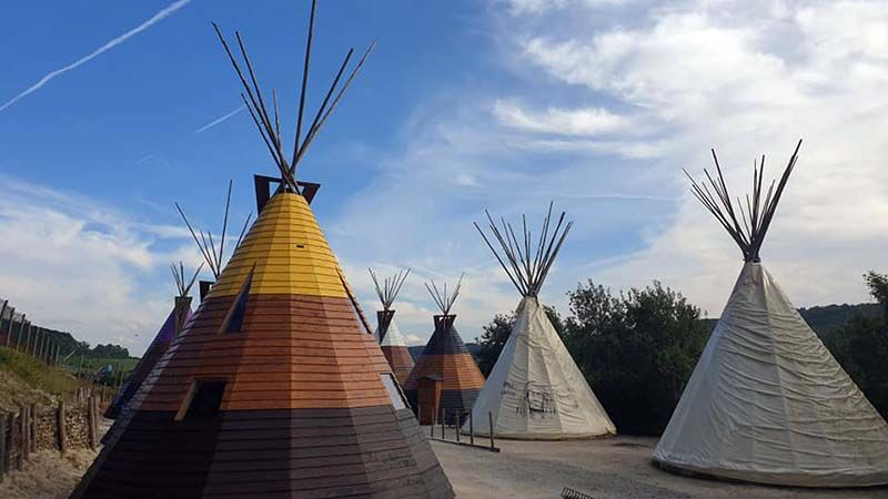 Teepees in the Normandy boondocks with accompanying wolf howls and bison snorts
