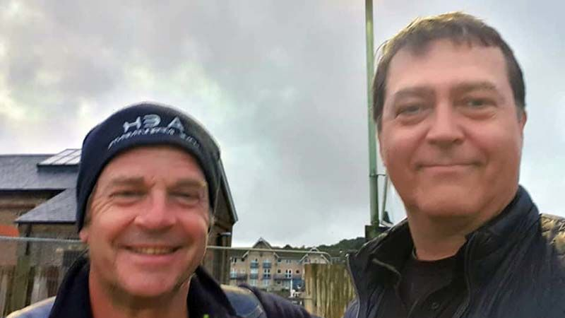 With school mate, Sean, who kindly dropped off the new Koko in torrential rain near Newhaven