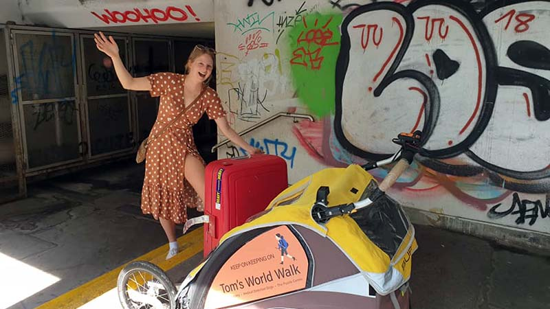 Eliza and I hauling Koko and her beast of a suitcase through graffitti strewn subways to our hostel