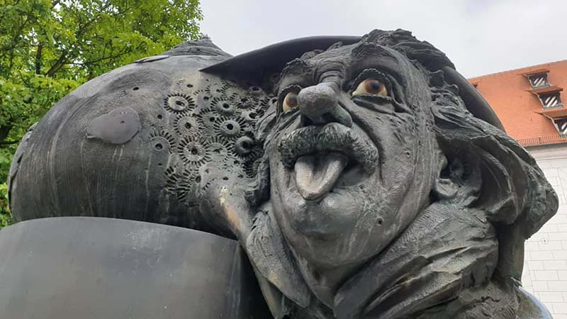 Quirky statue of Einstein at Ulm, the great scientist and thinker's birthplace