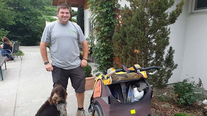 Simon and his dog, Gese, at Leiphreim campsite, he heard about the walk and next thing made me a packed lunch. What a star