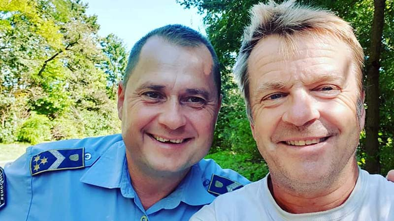 With Officer Gyula, the first policeman to stop me in Europe. He initially looked so stern then burst into laughter and asked for a selfie
