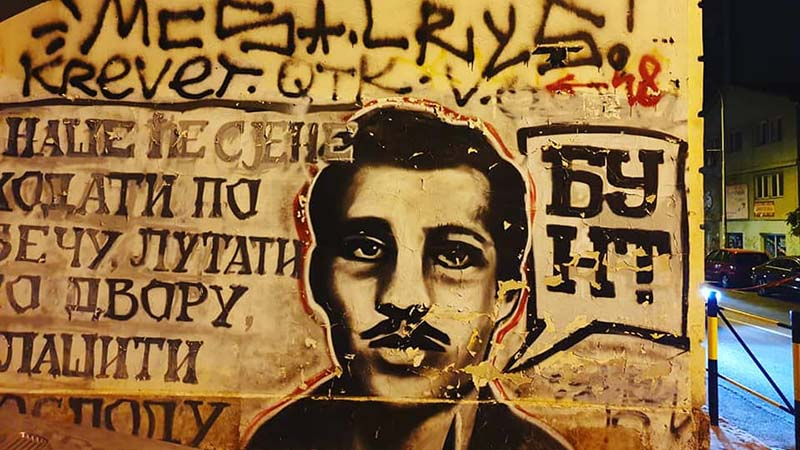 Graffiti art in Belgrade depicting Gavrilo Princep, a 19 year old Bosnian Serb who shot Archduke Ferdinand of Austria in Sarajevo in 1914, sparking World War I