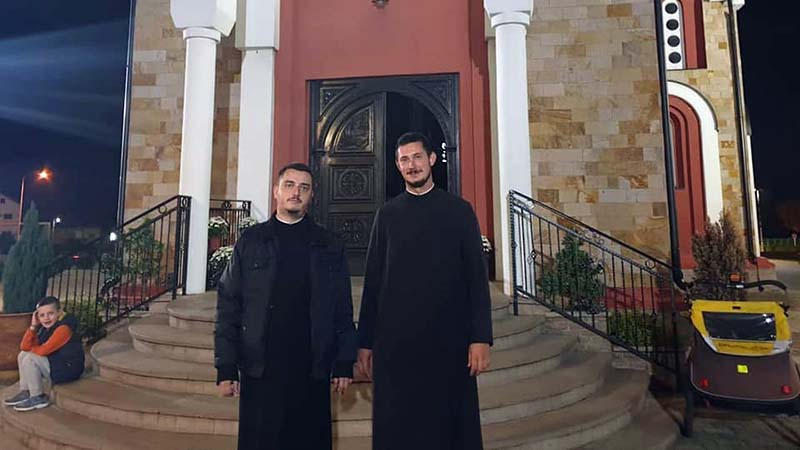 Priests Alexander and Ivan, who kindly let me camp outside St Sova's Church in Kragujevac