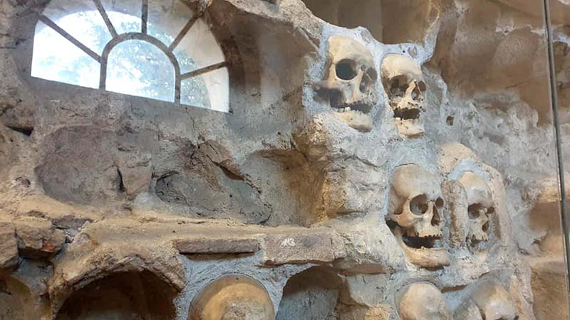 The Skull Tower in Nis. At the Battle of Cegar in 1809 the Serbs were defeated by a huge Turkish army but bravely fought to the last man