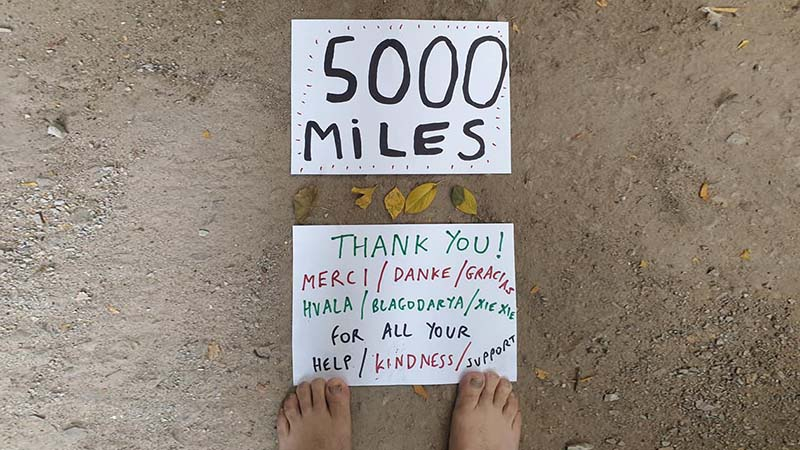 5000 miles. The picture says it all with gnarled toenails an added bonus
