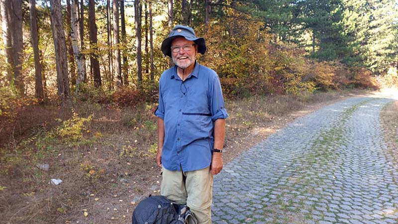 Retired teacher, Joaquin, walking from his home in Germany to Jerusalem