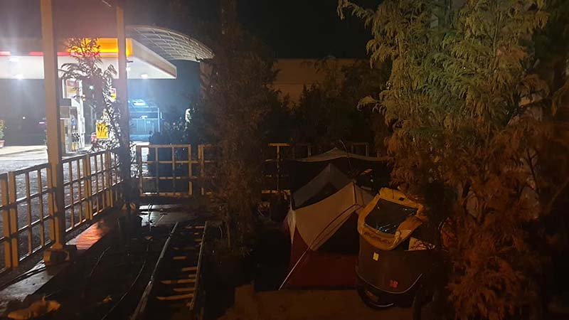 Camping outside the gas station at Vakilar. I got soaked by rain that day and was very grateful for the shelter