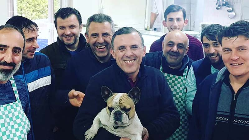 Ergun and his motley crew of cooks, welders, panel beaters, mechanics and Pepe, the French Bulldog