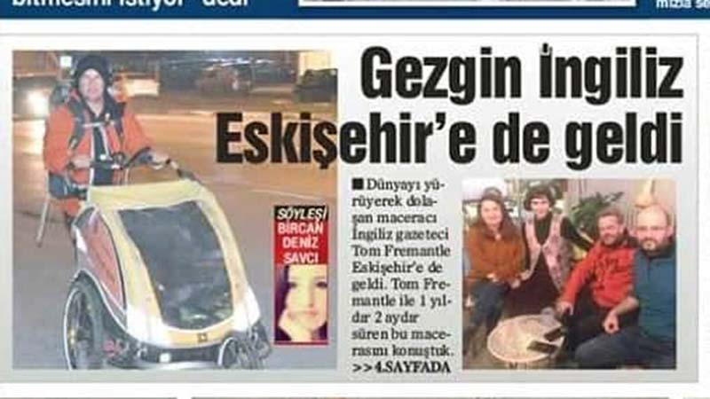 Stop press! Koko and I hit the front page of the Eskisehir Herald. Our 15 minutes of fame up