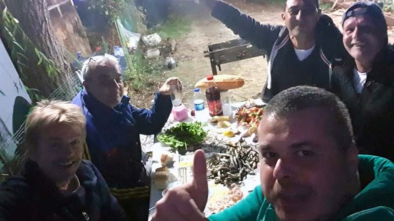 With wild Turks, Alp, Master Chef and the gang. After pitching my tent at Karadayi Campgroud they kindly invited me to eat freshly caught sardines, bread and raki