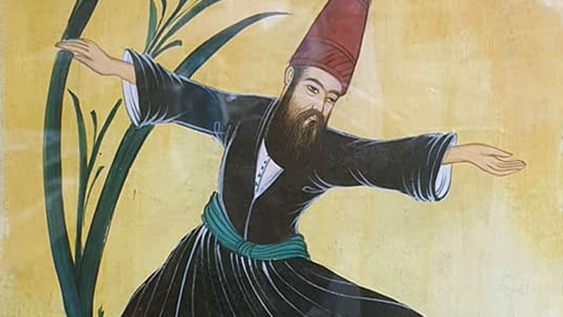 A Whirling Dervish spinning himself into a state of spiritual ecstacy. Impressive, especially with the full on headgear and Ottoman winkle pickers