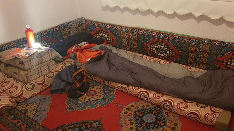 A mattress fit for a sultan in the corner of the Kuzucu tearoom