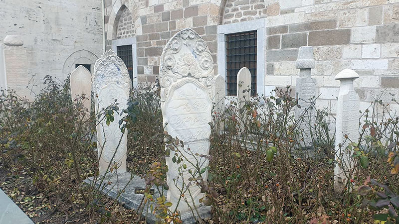 Beautiful gravestones amidst rosebushes at the Mevlana Museum in Konya, home of the Whirling Dervishes