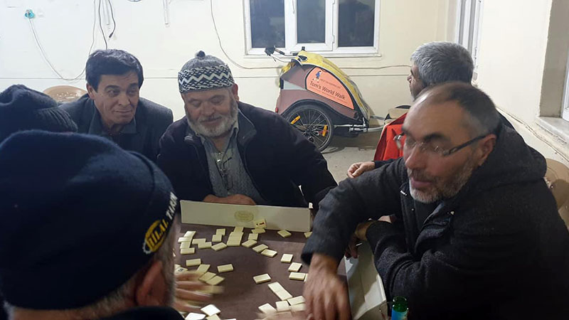 Village elders in tiny Kuzucu playing OK! - a Turkish fusion of Dominos and Mahjong with lots of added table slapping