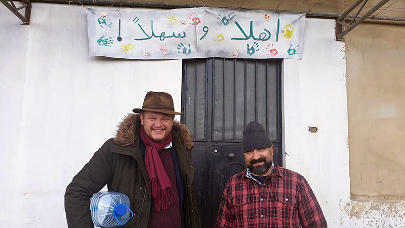 Fritz and Mo outside an RRS classroom in one of the many refugee camps near the Syrian border. Fritz is a human dynamo despite smoking cigarettes with more gusto than Keith Richards