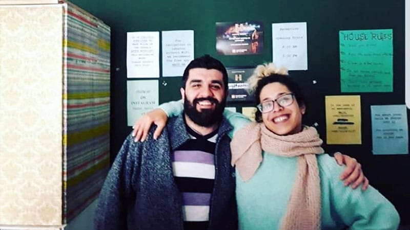 Maryam and Majd, the lovely team at Hostel Beirut. He is Syrian and she is Palestinian and a devoted Ian Dury fan
