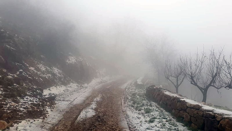 On the misty hills above Dahr El Baydar. When the sleet and snow came out of nowhere the whole situation became fleetingly high octane