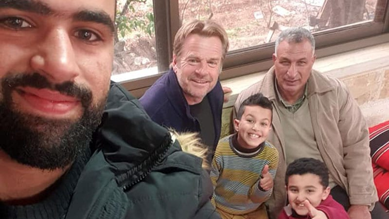 With Juma, Hamza and family in El Groush village in the hills between Amman and the Palestine border. A wonderfully kind bunch