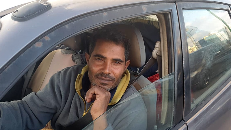 Nacer, who lives in a hut on Zakim Beach, just north of Gaza, in his beat up jalopy. He fled Gaza over 30 years ago after Hamas killed some of his family