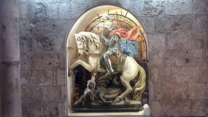 St George and the Dragon at the Church of the Nativity in Bethlehem. St George is the patron saint of England but actually stemmed from the Holy Land